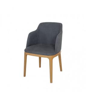 Krzesło bukowe z podłokietnikami tapicerowane szare do restauracji