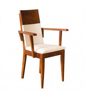 Krzesło dębowe z podłokietnikami białe do restauracji
