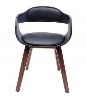 Krzesło na drewnianych nogach z podłokietnikami ekoskóra , idealne do jadalni.