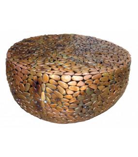 Stolik kawowy Stone Mosaic 82cm miedziany
