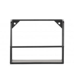 Praktyczna metalowa półka ścienna w  kolorze czarnym do kuchni w stylu industrialnym.