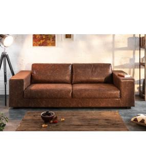 Elegancka Sofa Lounger 220 cm vintage brązowa