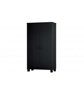 Praktyczna dwudrzwiowa szafa sosnowa czarna do pokoju w stylu nowoczesnym. Idealna do skandynawskiej sypialni.