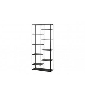Pojemny metalowy czarny regał do pokoju w stylu industrialnym. Sprawdzi się w nowoczesnym biurze lub skandynawskim salonie.