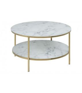 Stolik kawowy ALISMA z półką marmurowo złoty do salonu