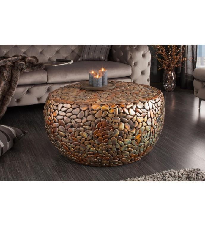 Stolik kawowy Stone Mosaic 82 cm miedziany