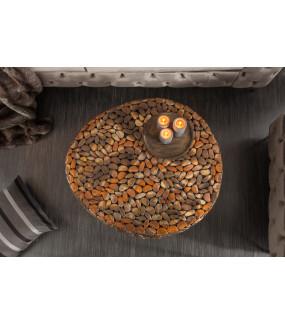 Stolik kawowy Stone Mosaic 82 cm miedziany do salonu