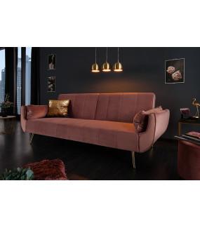 Sofa rozkładana Divani 215 cm różany aksamit