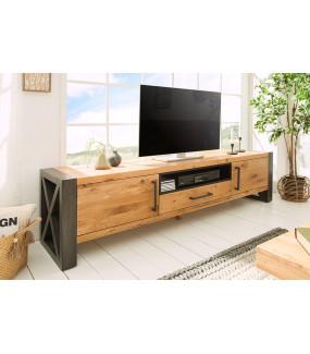 Ciekawy industrialny stolik pod TV do pokoju dziennego lub salonu zaaranżowanego w stylu loftowym.