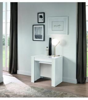 Stół rozkładany CONSOLLE z  czterema wkładami w kolorze białym
