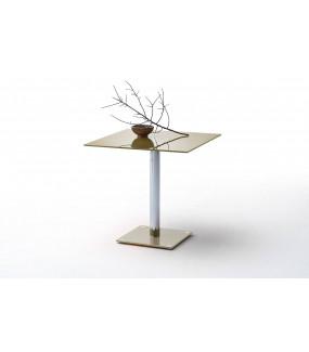 Stół szklany FION 80 cm taupe