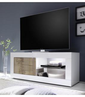 Stolik Pod TV BASIC 140 Cm Biały z dodatkiem koloru dąb pero