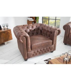 Fotel Chesterfield Vintage brązowy