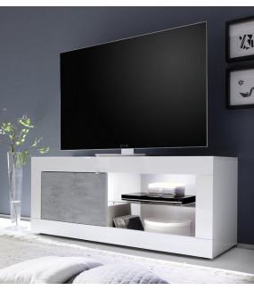 Stolik Pod TV BASIC 140 Cm Biały Z Dodatkiem Koloru szarego