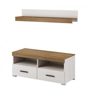 Stolik pod TV JOWISZ 100 cm w kolorze sosny bielonej z półką
