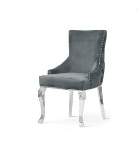 Krzesło LORITA z podłokietnikami srebrne nogi