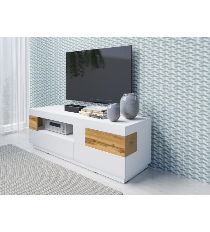 Stolik pod TV SILKE biały z dodatkiem koloru Dąb Wotan