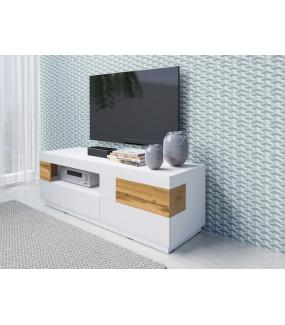 Stolik pod TV SILKE biały z dodatkiem koloru Dąb Wotan do salonu
