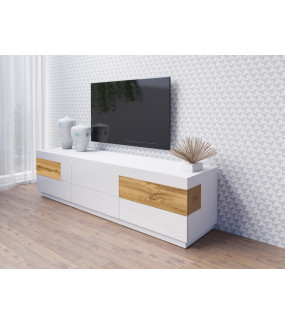 Stolik pod TV SILKE 205 cm biały z dodatkiem koloru dąb Wotan