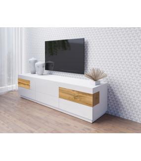 Stolik pod TV SILKE 205 cm biały z dodatkiem koloru dąb Wotan do salonu