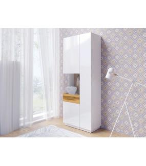 Witryna SILKE 80 cm biała z dodatkiem koloru Dąb Wotan do salonu