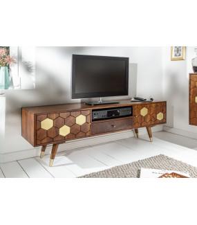 Rustykalny stolik pod TV do salonu lub pokoju dziennego.