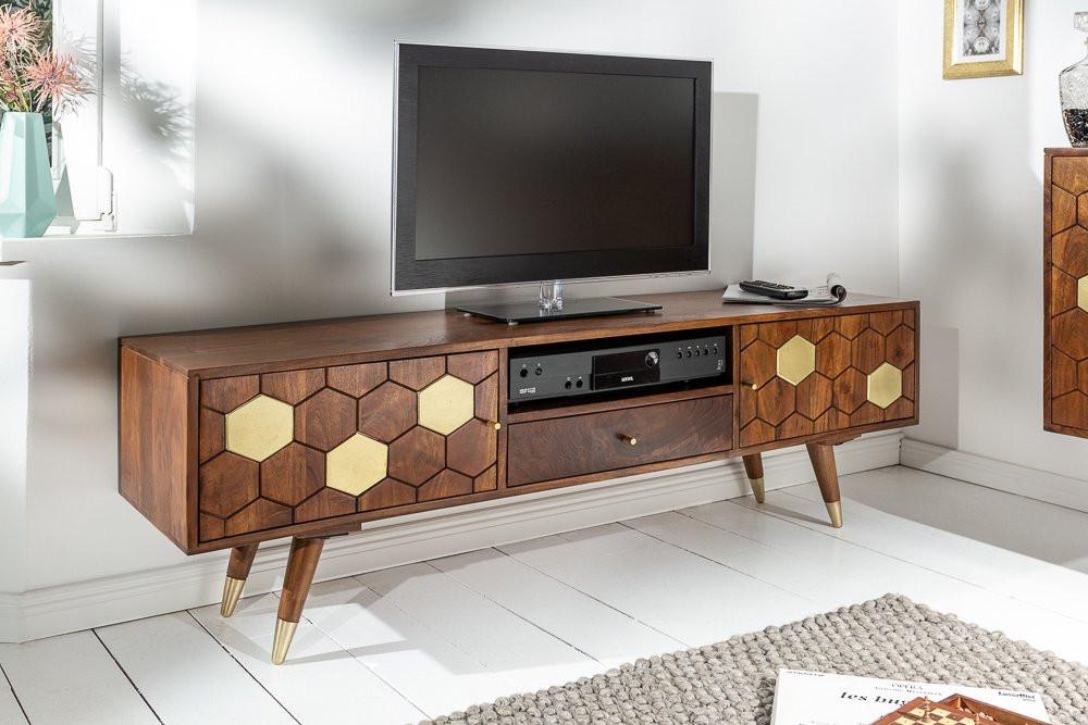 Stolik Pod TV Mystic Living 140 Cm Drewno Akacja