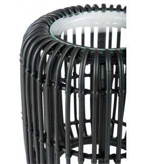Stolik kawowy Z rattanu 35 cm czarny do salonu