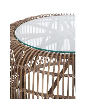 Stolik Kawowy Z Rattanu 85 cm naturalny na taras