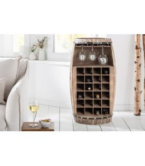 Ciekawy stojak na wino Chateau idealny do salonu skandynawskiego lub industrialnego.