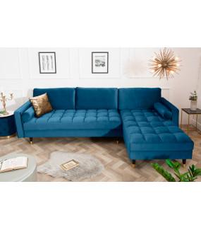 Narożnik Cozy Velvet 260 cm ciemnoniebieski aksamit