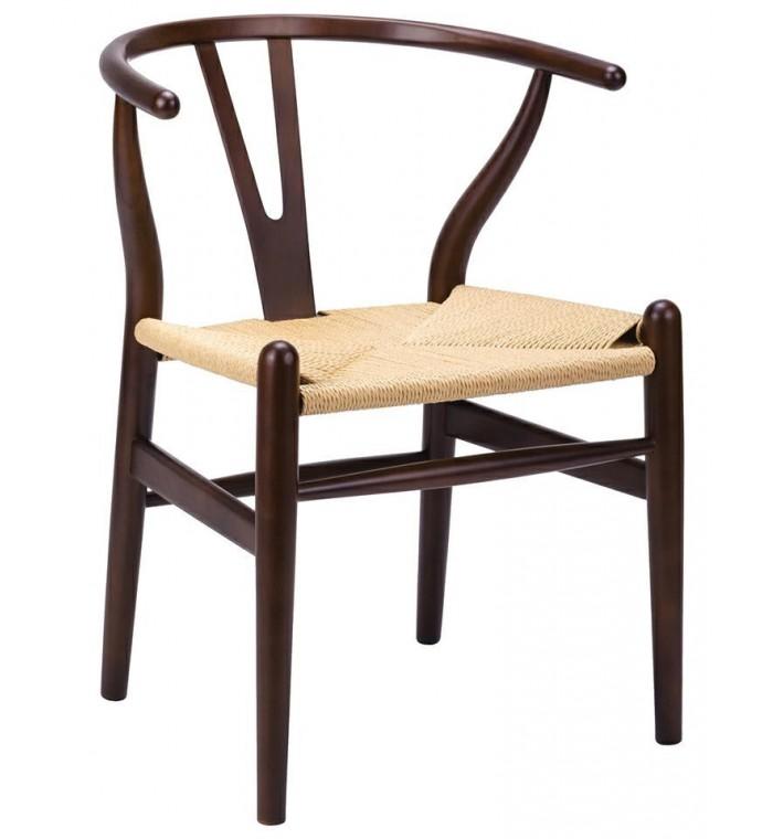 Krzesło WISHBONE ciemny brąz
