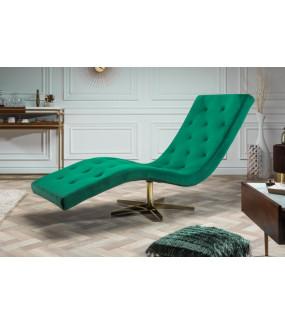 Leżanka Relaxo szmaragdowo-zielony aksamit