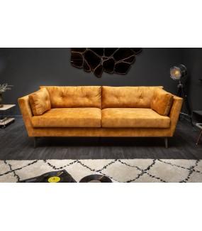 Sofa WONDER 220 cm musztardowo-żółty aksamit