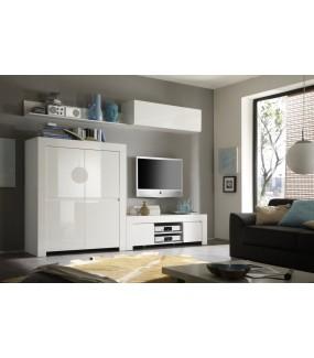 Komoda wysoka AMALFI 119 cm biała  do salonu