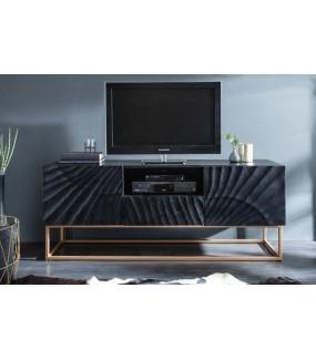 Stolik pod TV Scorpion 160 cm Mango czarny do salonu w stylu glamour. Idealny do pokoju w stylu nowoczesnym.