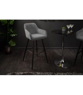 Krzesło barowe Turin aksamitne szare
