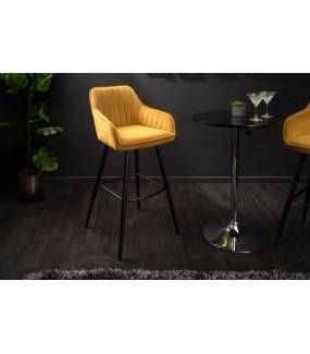 Krzesło barowe Turin musztardowo żółty aksamit
