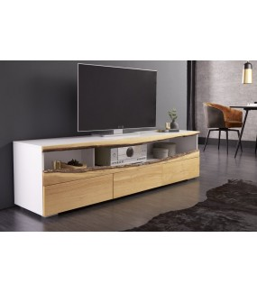 Stolik Pod Tv Canadian z otwartą półką oraz trzema szufladami do salonu w stylu skandynawskim.