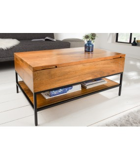 Stolik kawowy Factory 80 cm mango idealny do salonu lub pokoju dziennego w stylu industrialnym.