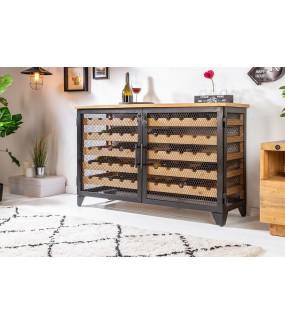 Szafka na wino Chateau wyposażona w praktyczne półki na wino będzie idealna do salonu w stylu loft