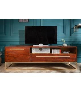Stolik pod TV Vide świetnie zaaranżuje wnętrze salonu w stylu retro.
