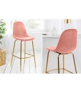 Krzesło Barowe Dino różowy Aksamit