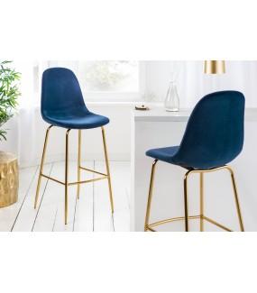 Krzesło Barowe Dino Ciemnoniebieski aksamit