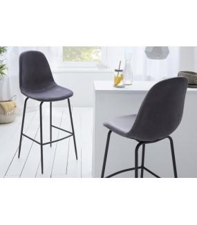 Krzesło barowe Dino srebrnoszary aksamit