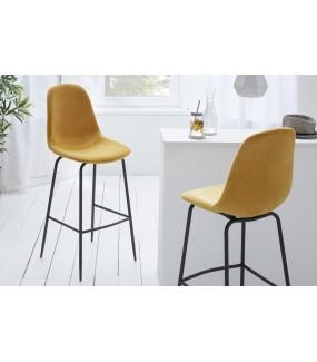 Krzesło barowe Dino musztardowy żółty aksamit