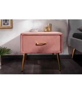 Szafka nocna Famous 45 cm velvet różowa do salonu
