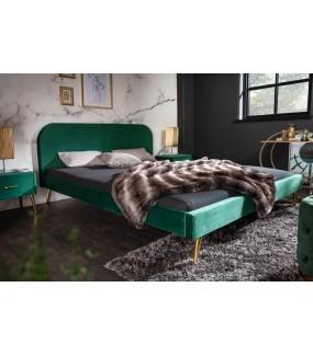 Łóżko Famous 160 cm x 200 cm Szmaragdowo Zielony Aksamit