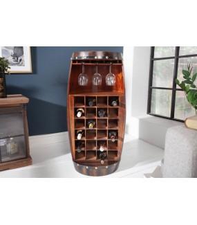 Stojak na wino REMMES pięknie zaprezentuje się w salonie w stylu loft lub pokoju klasycznym lub retro