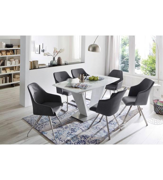 Stół rozkładany ILKO 160 cm -220 cm biały do salonu